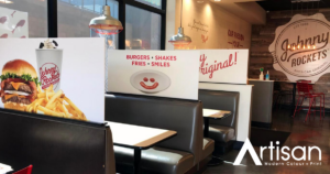 Johnny Rockets sneeze and cough booth guards made from sintra printing material by Artisan Colour, Scottsdale Commercial Printing Company and AMA Phoenix Sponsor